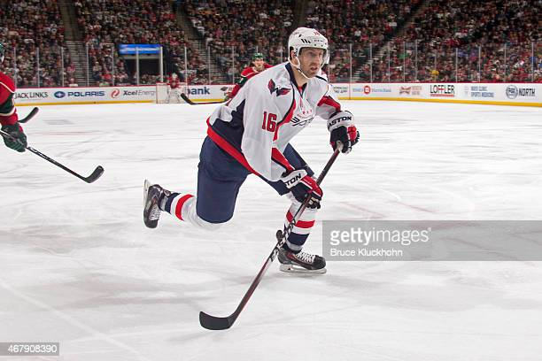 Eric Fehr of the Washington Capitals skates against the Minnesota Wild during the game on March 19 2015 at the Xcel Energy Center in St Paul Minnesota