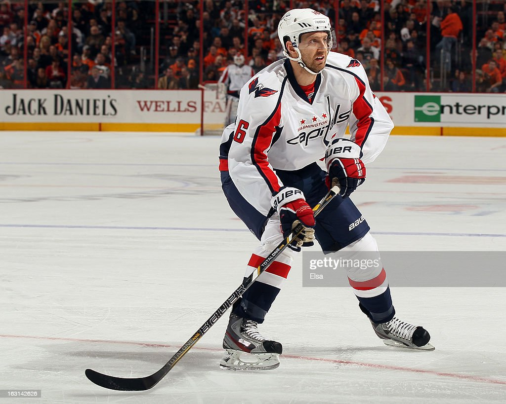 Eric Fehr #16 of the Washington Capitals skates against the Philadelphia Flyers on February 27, 2013 at the Wells Fargo Center in Philadelphia, Pennsylvania.