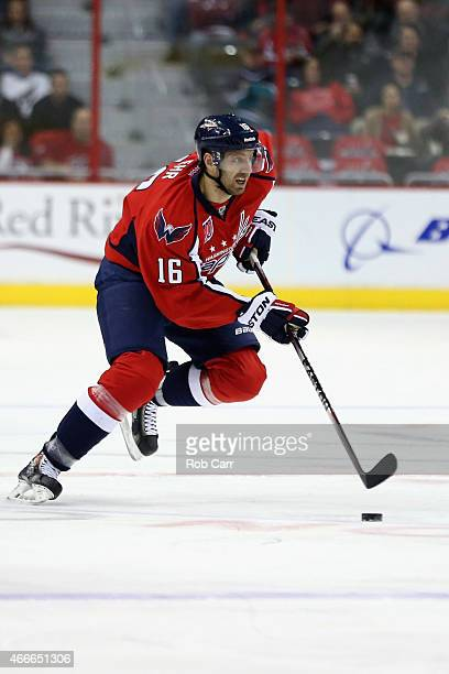 Eric Fehr of the Washington Capitals skates with the puck against the Dallas Stars at Verizon Center on March 13 2015 in Washington DC