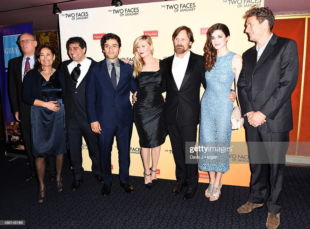 Eric Fellner Robyn Slovo Hossein Amini Oscar Issac Kirsten Dunst Viggo Mortensen Daisy Bevan and Tim Bevan attend the UK premiere of 'The Two Faces...