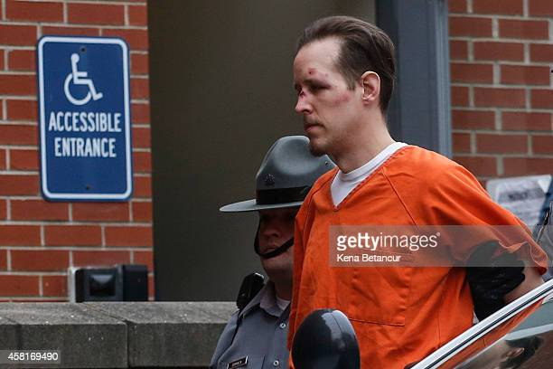 Eric Frein arrives for arraignment to court on October 31 2014 in Milford Pennsylvania Frein a suspected cop killer was taken into custody from a...
