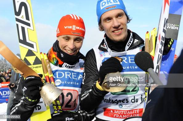 Eric Frenzel and Tino Edelmann of Germany take 1st place during the FIS Nordic Combined World Cup Team Sprint on January 13 2013 in ChauxNeuve France