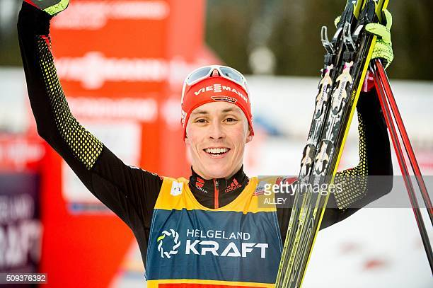 Eric Frenzel from Germany celebrates after winning the FIS World Cup Nordic Combined competition in Trondheim on February 10 2016 / AFP / NTB scanpix...