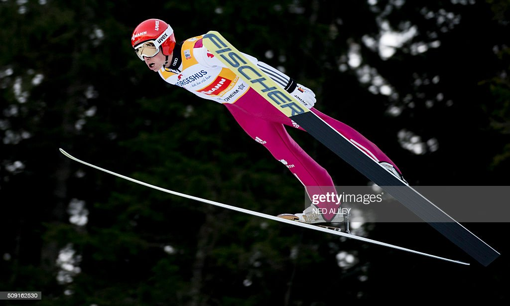 Eric Frenzel from Germany jumps during the FIS World Cup Nordic Combined competition in Trondheim, on February 9, 2016. / AFP / NTB SCANPIX / Ned Alley / Norway OUT