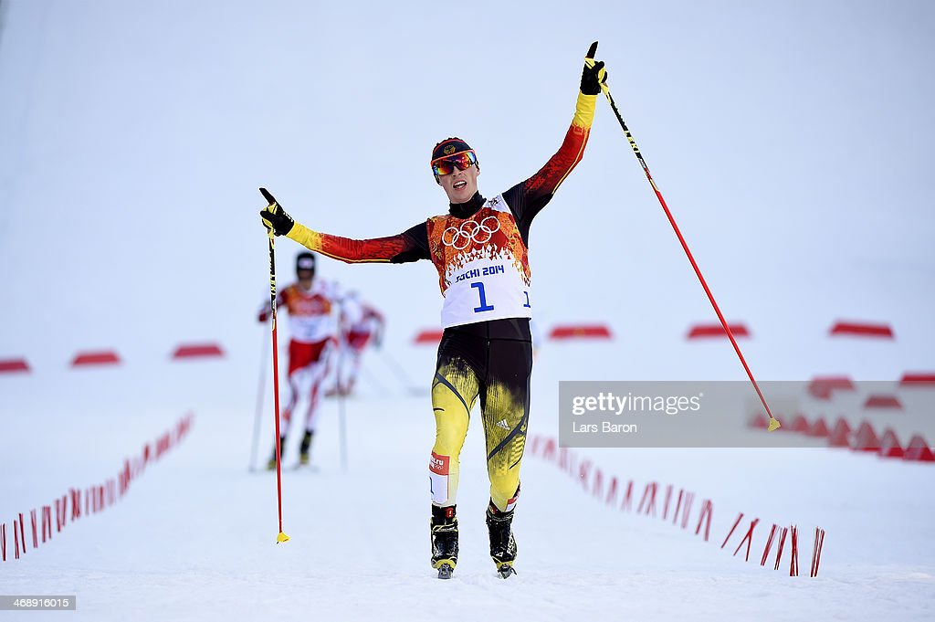 <a gi-track='captionPersonalityLinkClicked' href=/galleries/search?phrase=Eric+Frenzel&family=editorial&specificpeople=4595984 ng-click='$event.stopPropagation()'>Eric Frenzel</a> of Germany celebrates as he wins the gold medal during the Nordic Combined Individual Gundersen Normal Hill and 10km Cross Country on day 5 of the Sochi 2014 Winter Olympics at the RusSki Gorki Nordic Combined Skiing Stadium on February 12, 2014 in Sochi, Russia.
