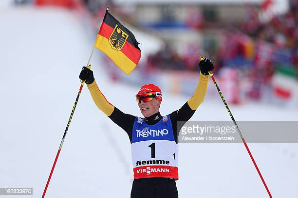 Eric Frenzel of Germany celebrates victory in the Men's Nordic Combined Individual Gundersen 10Km at the FIS Nordic World Ski Championships on...