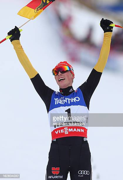 Eric Frenzel of Germany celebrates victory in the Men's Nordic Combined during the Individual Gundersen 10Km at the FIS Nordic World Ski...