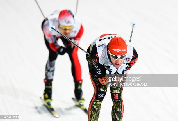 Eric Frenzel of Germany competes at the Nordic Combined men Team Sprint event of the 2017 FIS Nordic World Ski Championships in Lahti Finland on...