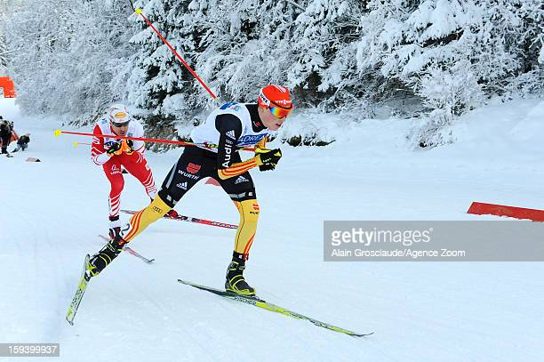 Eric Frenzel of Germany competes during the FIS Nordic Combined World Cup Team Sprint on January 13 2013 in ChauxNeuve France