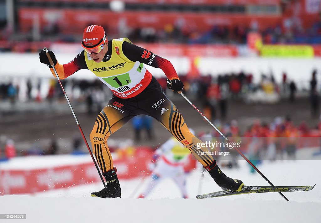 <a gi-track='captionPersonalityLinkClicked' href=/galleries/search?phrase=Eric+Frenzel&family=editorial&specificpeople=4595984 ng-click='$event.stopPropagation()'>Eric Frenzel</a> of Germany competes during the Nordic Combined 4 x 5km Cross-Country team event during the FIS Nordic World Ski Championships at the Lugnet venue on February 22, 2015 in Falun, Sweden.
