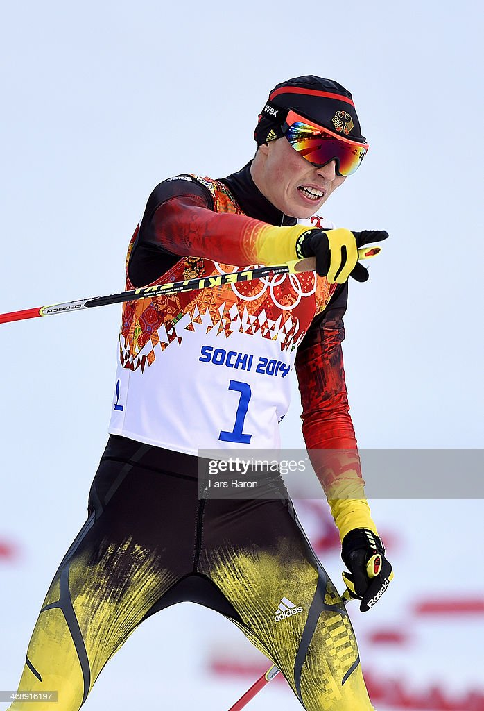 <a gi-track='captionPersonalityLinkClicked' href=/galleries/search?phrase=Eric+Frenzel&family=editorial&specificpeople=4595984 ng-click='$event.stopPropagation()'>Eric Frenzel</a> of Germany competes during the Nordic Combined Individual Gundersen Normal Hill and 10km Cross Country on day 5 of the Sochi 2014 Winter Olympics at the RusSki Gorki Nordic Combined Skiing Stadium on February 12, 2014 in Sochi, Russia.