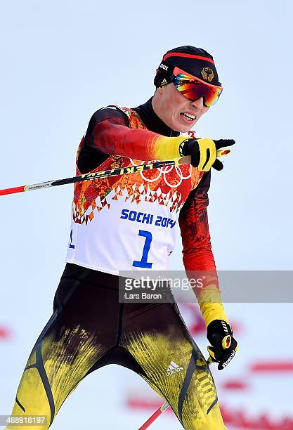Eric Frenzel of Germany competes during the Nordic Combined Individual Gundersen Normal Hill and 10km Cross Country on day 5 of the Sochi 2014 Winter...
