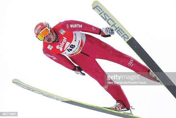 Eric Frenzel of Germany competes in the Gundersen Ski Jumping HS 100 event during day one of the FIS Nordic Combined World Cup on January 30 2010 in...