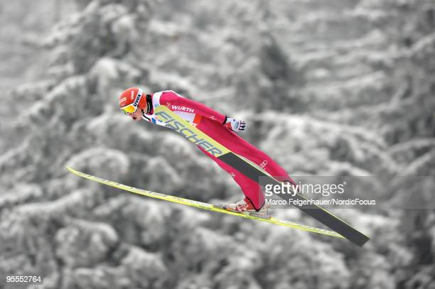 Eric Frenzel of Germany competes in the Gundersen Ski Jumping HS 140 event during day two of the FIS Nordic Combined World Cup on January 3 2010 in...