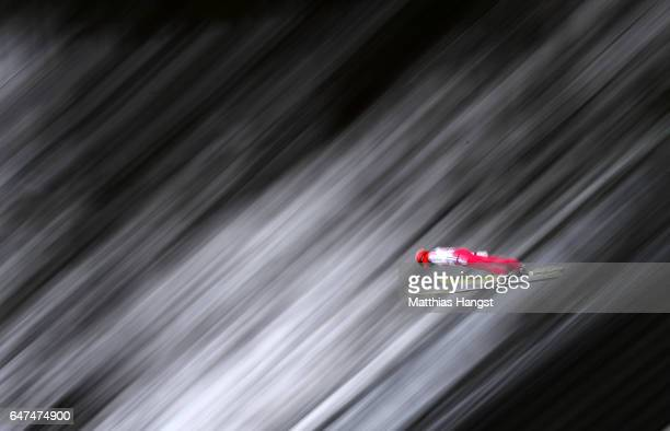 Eric Frenzel of Germany competes in the Men's Nordic Combined HS130 Ski Jumping / 2 x 75km Team Sprint Cross Country during the FIS Nordic World Ski...