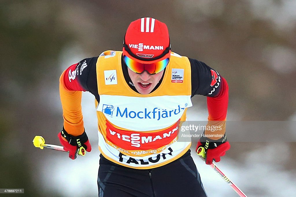 <a gi-track='captionPersonalityLinkClicked' href=/galleries/search?phrase=Eric+Frenzel&family=editorial&specificpeople=4595984 ng-click='$event.stopPropagation()'>Eric Frenzel</a> of Germany competes in the Nordic Combined Individual Gundersen Normal Hill 10km Cross Country event at Riksskidstadion Lugnet on March 15, 2014 in Falun, Sweden.