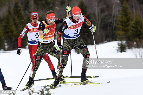 Eric Frenzel of Germany competes on his way to taking 2nd place during the FIS Nordic World Cup Men's Nordic Combined HS118/10km on January 24 2016...