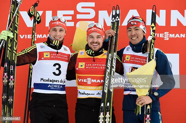 Eric Frenzel of Germany Fabian Riessle of Germany and Akito Watabe of Japan celebrate on the podium after the FIS Nordic World Cup Men's Nordic...