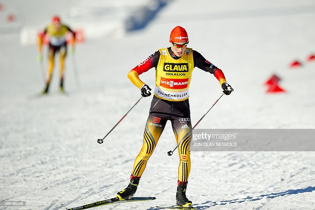 <a gi-track='captionPersonalityLinkClicked' href=/galleries/search?phrase=Eric+Frenzel&family=editorial&specificpeople=4595984 ng-click='$event.stopPropagation()'>Eric Frenzel</a> of Germany in action during the final World Cup Nordic Combined event of the season in the Holmenkollen Ski Arena in Oslo on March 14, 2015. He finished fourth Saturday, but gained the title as this years' overall winner of the World Cup Nordic Combined competition. AFP PHOTO / NTB SCANPIX / Jon Olav Nesvold +++NORWAY OUT