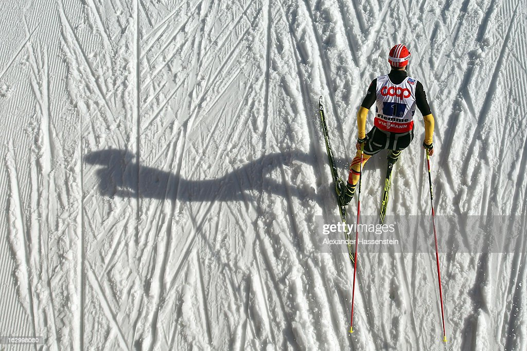 Eric Frenzel of Germany in action during the Men's Nordic Combined Team Sprint 2x7.5Km at the FIS Nordic World Ski Championships on March 2, 2013 in Val di Fiemme, Italy.