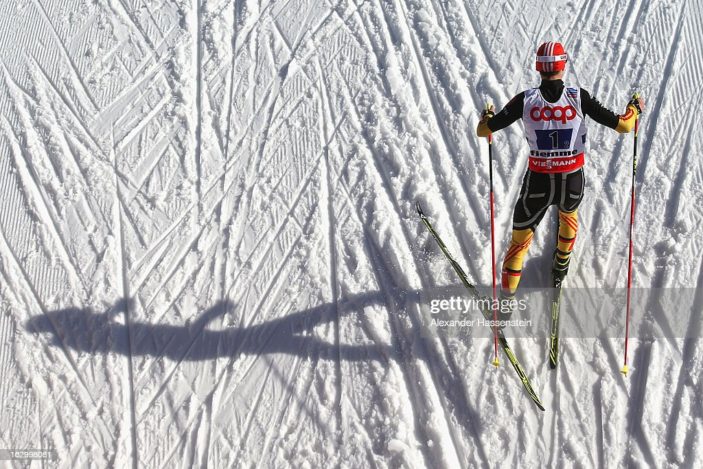 <a gi-track='captionPersonalityLinkClicked' href=/galleries/search?phrase=Eric+Frenzel&family=editorial&specificpeople=4595984 ng-click='$event.stopPropagation()'>Eric Frenzel</a> of Germany in action during the Men's Nordic Combined Team Sprint 2x7.5Km at the FIS Nordic World Ski Championships on March 2, 2013 in Val di Fiemme, Italy.