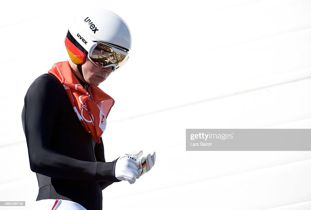 <a gi-track='captionPersonalityLinkClicked' href=/galleries/search?phrase=Eric+Frenzel&family=editorial&specificpeople=4595984 ng-click='$event.stopPropagation()'>Eric Frenzel</a> of Germany is seen during the Men's Individual Gundersen Large Hill/10 km Nordic Combined training on day 8 of the Sochi 2014 Winter Olympics at the RusSki Gorki Ski Jumping Center on February 15, 2014 in Sochi, Russia.