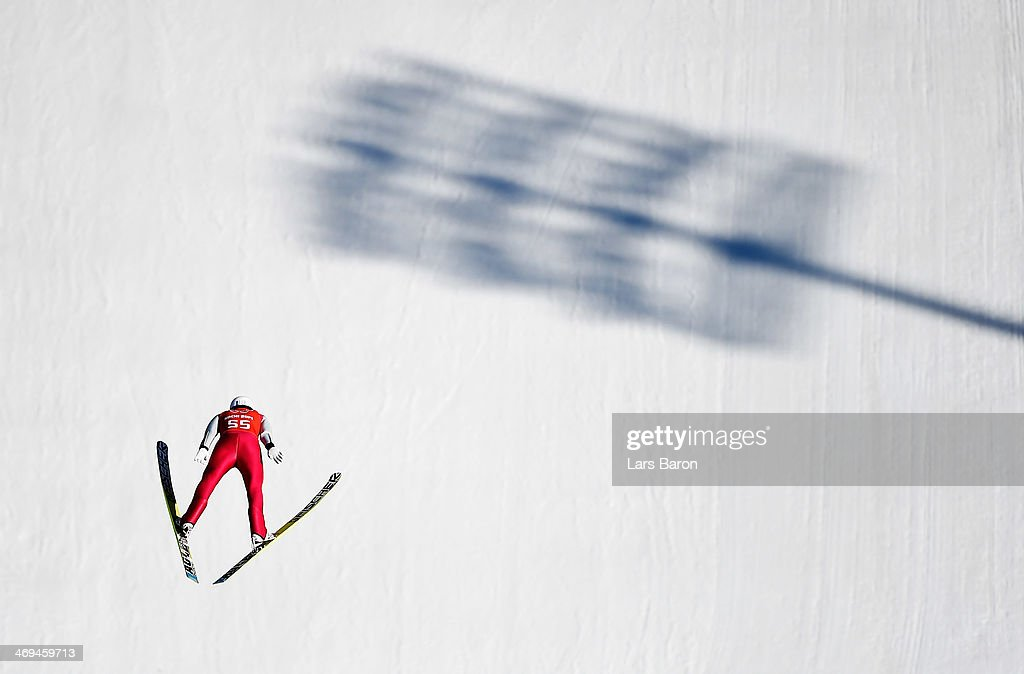 Eric Frenzel of Germany jumps during the Men's Individual Gundersen Large Hill/10 km Nordic Combined training on day 8 of the Sochi 2014 Winter Olympics at the RusSki Gorki Ski Jumping Center on February 15, 2014 in Sochi, Russia.