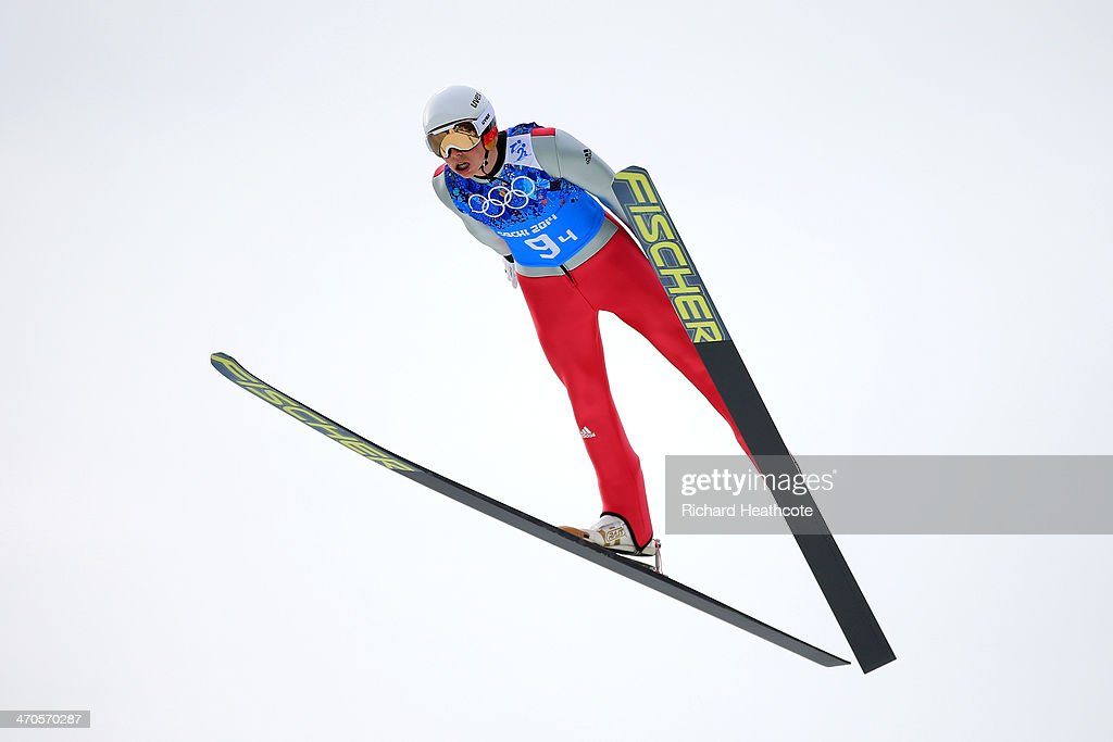 <a gi-track='captionPersonalityLinkClicked' href=/galleries/search?phrase=Eric+Frenzel&family=editorial&specificpeople=4595984 ng-click='$event.stopPropagation()'>Eric Frenzel</a> of Germany performs a trial jump in the Nordic Combined Men's Team LH during day 13 of the Sochi 2014 Winter Olympics at RusSki Gorki Jumping Center on February 20, 2014 in Sochi, Russia.