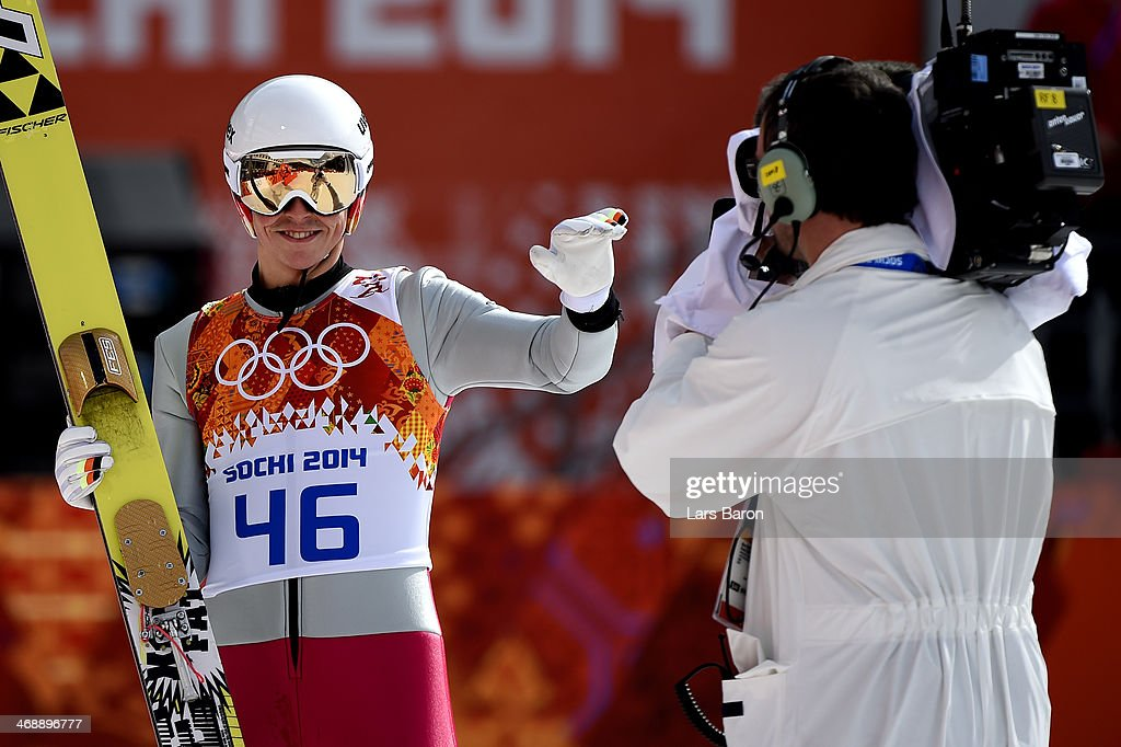 Eric Frenzel of Germany reacts during the Nordic Combined Individual Gundersen Normal Hill and 10km Cross Country on day 5 of the Sochi 2014 Winter Olympics at the RusSki Gorki Ski Jumping Center on February 12, 2014 in Sochi, Russia.