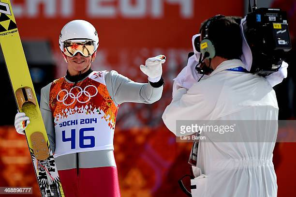 Eric Frenzel of Germany reacts during the Nordic Combined Individual Gundersen Normal Hill and 10km Cross Country on day 5 of the Sochi 2014 Winter...