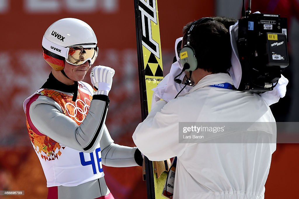 <a gi-track='captionPersonalityLinkClicked' href=/galleries/search?phrase=Eric+Frenzel&family=editorial&specificpeople=4595984 ng-click='$event.stopPropagation()'>Eric Frenzel</a> of Germany reacts during the Nordic Combined Individual Gundersen Normal Hill and 10km Cross Country on day 5 of the Sochi 2014 Winter Olympics at the RusSki Gorki Ski Jumping Center on February 12, 2014 in Sochi, Russia.