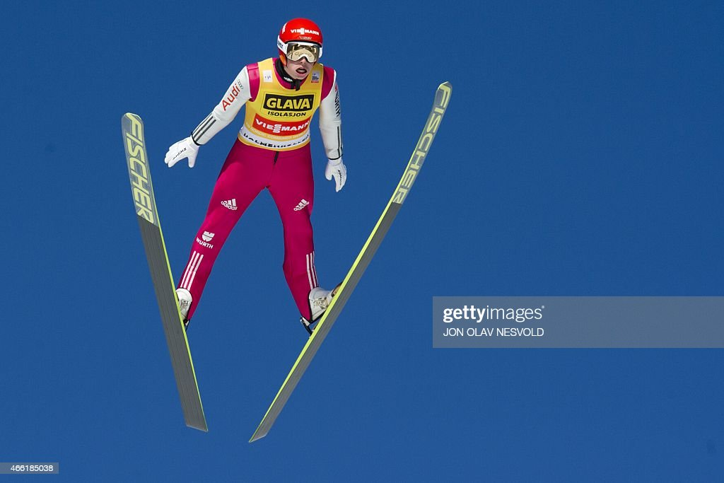<a gi-track='captionPersonalityLinkClicked' href=/galleries/search?phrase=Eric+Frenzel&family=editorial&specificpeople=4595984 ng-click='$event.stopPropagation()'>Eric Frenzel</a> of Germany soars during the final World Cup Nordic Combined event of the season in the Holmenkollen Ski Arena in Oslo on March 14, 2015. He finished fourth Saturday, but gained the title as this years' overall winner of the World Cup Nordic Combined competition. AFP PHOTO / NTB SCANPIX / Jon Olav Nesvold +++NORWAY OUT