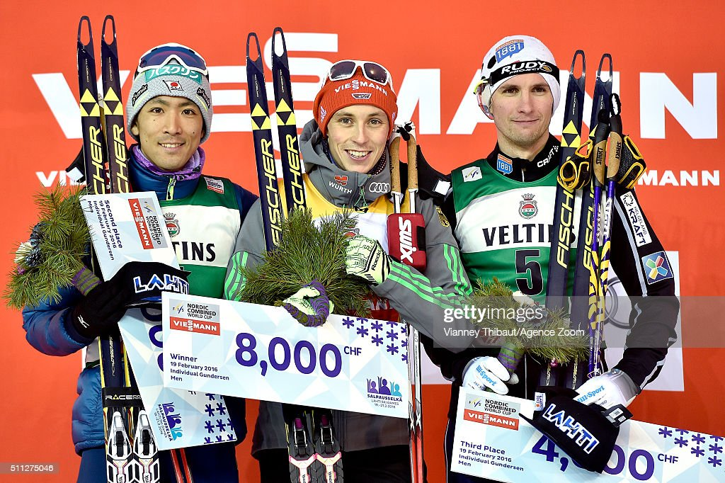 Eric Frenzel of Germany takes 1st place, Akito Watabe of Japan takes 2nd place, Jan Schmid of Norway takes 3rd place during the FIS Nordic World Cup Men's Nordic Combined HS130/10k on February 19, 2016 in Lahti, Finland.