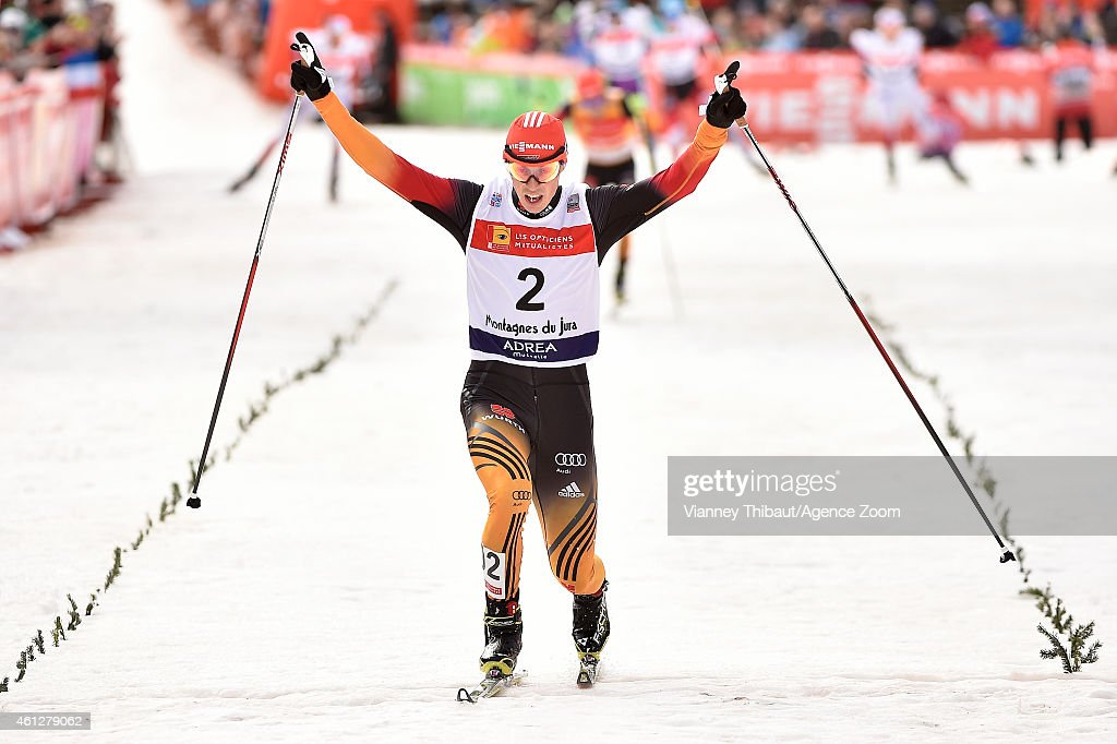 <a gi-track='captionPersonalityLinkClicked' href=/galleries/search?phrase=Eric+Frenzel&family=editorial&specificpeople=4595984 ng-click='$event.stopPropagation()'>Eric Frenzel</a> of Germany takes 1st place during the FIS Nordic Combined World Cup HS118/10km on January 10, 2015 in Chaux-Neuve, France.
