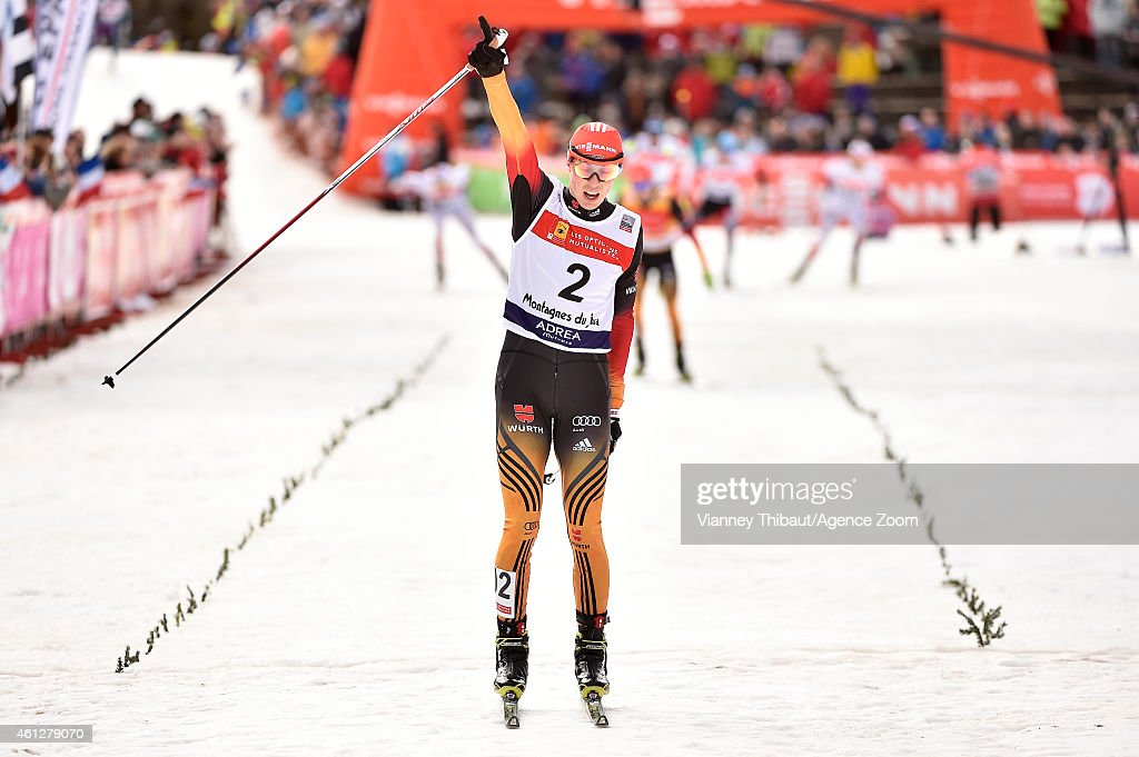 Eric Frenzel of Germany takes 1st place during the FIS Nordic Combined World Cup HS118/10km on January 10, 2015 in Chaux-Neuve, France.