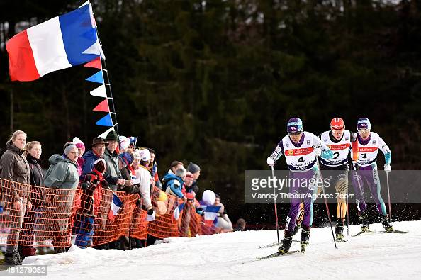 Eric Frenzel of Germany takes 1st place during the FIS Nordic Combined World Cup HS118/10km on January 10 2015 in ChauxNeuve France