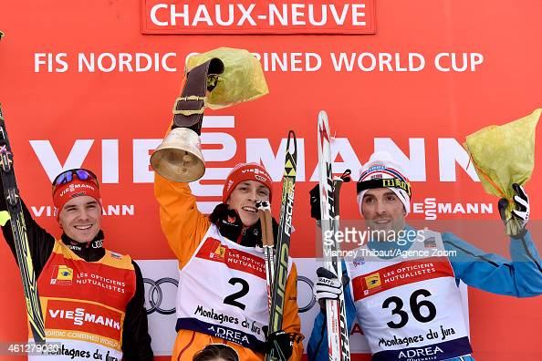 Eric Frenzel of Germany takes 1st place Fabian Riessle of Germany takes 2nd place Magnus Hovdal Moan of Norway takes 3rd place during the FIS Nordic...