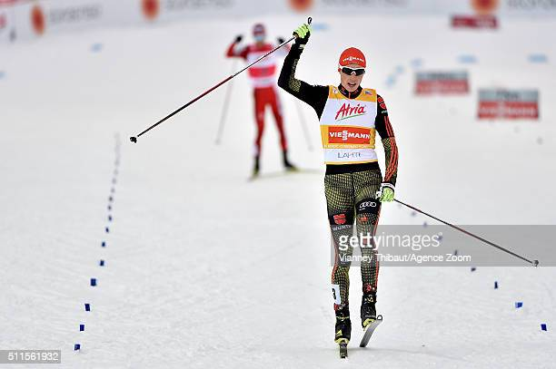 Eric Frenzel of Germany takes 2nd place during the FIS Nordic World Cup Men's Nordic Combined HS130/10k on February 21 2016 in Lahti Finland