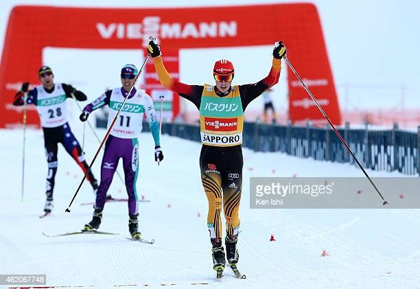 Eric Frenzel of Germany takes first place in the XC 10 km Individual Gundersen during the day two of FIS Men's Nordic Combined World Cup at...