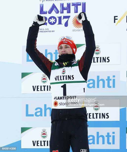 Eric Frenzel of Germany wins the silver medal during the FIS Nordic World Ski Championships Men's Nordic Combined HS100/10k on February 24 2017 in...