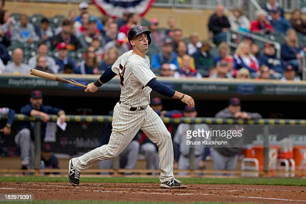 Eric Fryer of the Minnesota Twins bats against the Cleveland Indians on September 28 2013 at Target Field in Minneapolis Minnesota The Indians win 51
