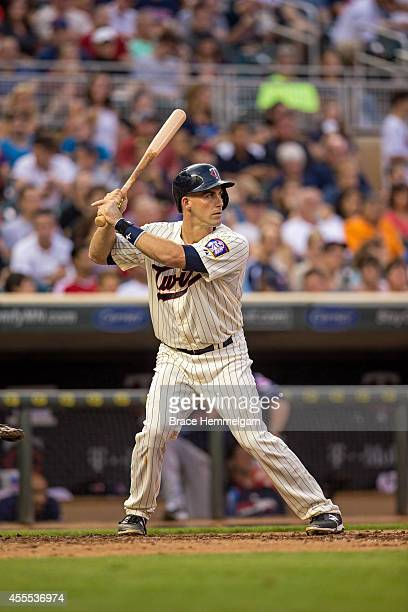 Eric Fryer of the Minnesota Twins bats against the Cleveland Indians on August 20 2014 at Target Field in Minneapolis Minnesota The Indians defeated...