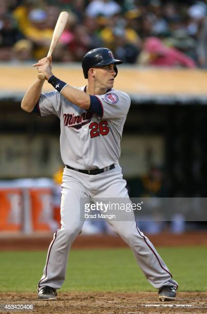 Eric Fryer of the Minnesota Twins bats against the Oakland Athletics during the game at Oco Coliseum on Saturday August 9 2014 in Oakland California
