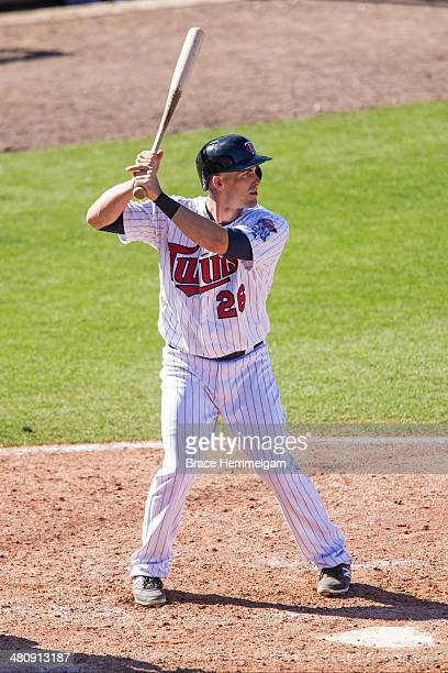 Eric Fryer of the Minnesota Twins bats against the Toronto Blue Jays during a spring training game on March 3 2014 at Hammond Stadium in Fort Myers...