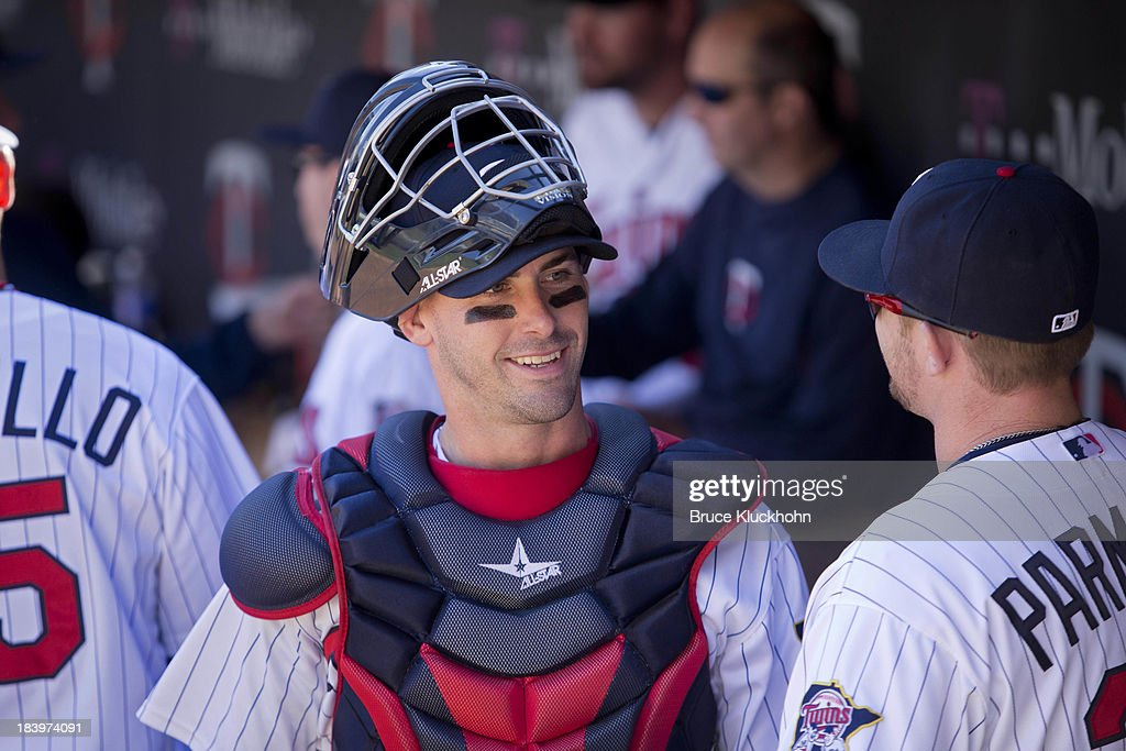 <a gi-track='captionPersonalityLinkClicked' href=/galleries/search?phrase=Eric+Fryer&family=editorial&specificpeople=7551315 ng-click='$event.stopPropagation()'>Eric Fryer</a> #54 of the Minnesota Twins gets ready to play the Cleveland Indians on September 29, 2013 at Target Field in Minneapolis, Minnesota. The Indians win 5-1.