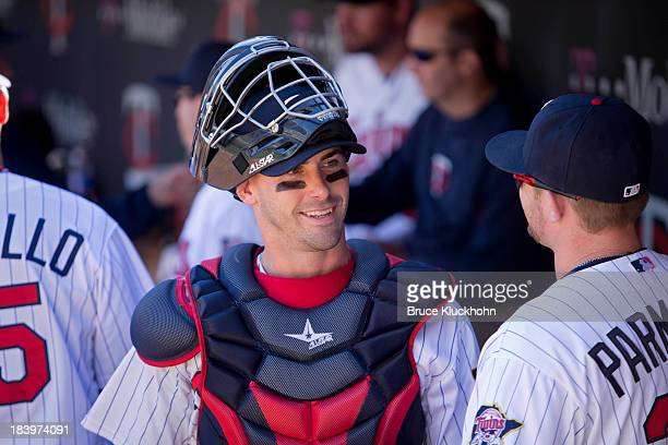 Eric Fryer of the Minnesota Twins gets ready to play the Cleveland Indians on September 29 2013 at Target Field in Minneapolis Minnesota The Indians...