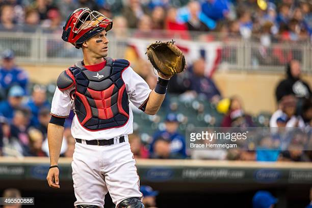 Eric Fryer of the Minnesota Twins looks on against the Kansas City Royals on October 4 2015 at Target Field in Minneapolis Minnesota The Royals...