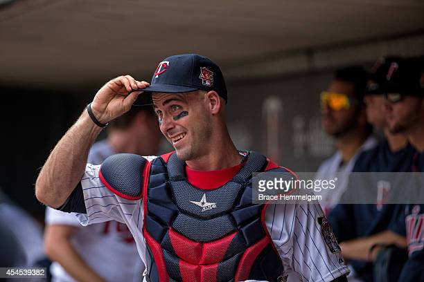 Eric Fryer of the Minnesota Twins looks on against the Tampa Bay Rays on July 20 2014 at Target Field in Minneapolis Minnesota The Rays defeated the...