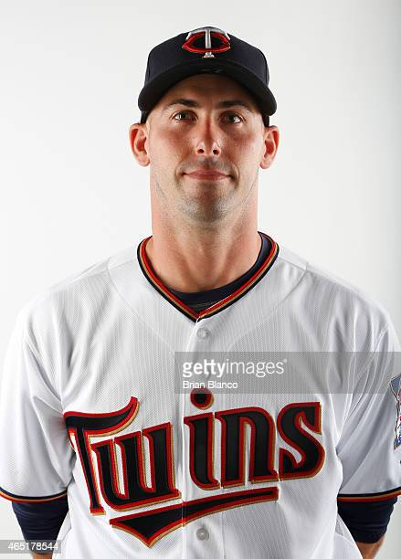 Eric Fryer of the Minnesota Twins poses for a photo during the Twins' photo day on March 3 2015 at Hammond Stadium in Fort Myers Florida