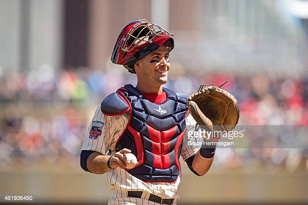 Eric Fryer of the Minnesota Twins smiles against the Minnesota Twins on July 2 2014 at Target Field in Minneapolis Minnesota The Royals defeated the...